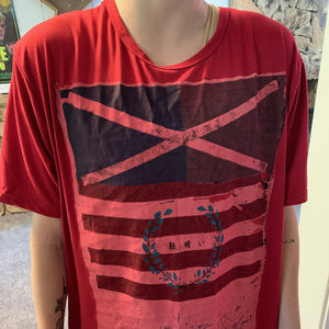 Other - T Shirt Red Asian Writing Flag Design